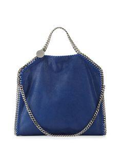 V2XHJ Stella McCartney Falabella Fold-Over Tote Bag, Blue Bird