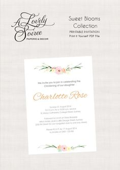 Sweet Blooms Collection Printable Invitation by alovelysoiree