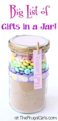 BIG List of Gifts in a Jar - at TheFrugalGirls.com