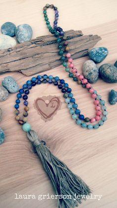 Rainbow Goddess Mala   Laura Grierson Jewelry ♥♥FOLLOW https://www.pinterest.com/lauragriersonXO/m-a-l-a-laura-grierson-jewelry-mala-beads/ NOW♥♥ artisan hand knotted gemstone 108 mala necklaces #yoga #meditation #malabeads #gypset #etsy #rainbow