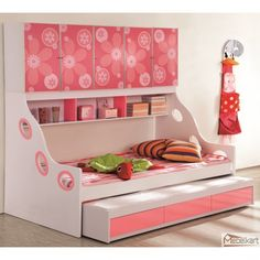 Kids Beds With Storage for Your Messy Little Kids : Cute Pink White Floral Decoration Kids Beds With Storage