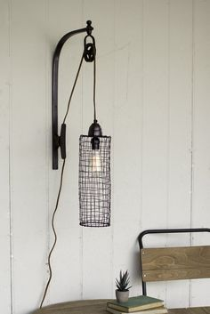 Pulley Wall Lamp, Wire Cylinder, industrial style