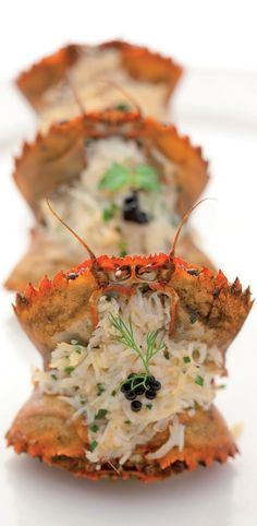 Creamy Seafood Stuffed Petite Crabs.