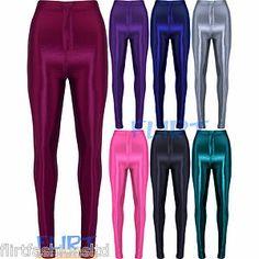 Womens Disco Pants Wet Look Shiny High Waist Button Jeggings Full Length Trouser