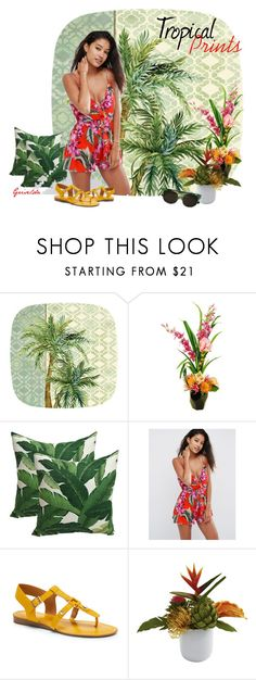 """""""Tropical Prints"""" by artspirit ❤ liked on Polyvore featuring Designs by Lauren, ASOS, Franco Sarto, Nearly Natural, Diesel, Home, homedecor, tropicalprints, homedesign and womensFashion"""