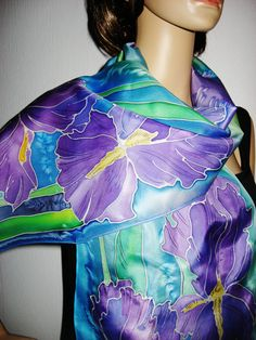 IRISES Hand Painted SILK SCARF by SilkMagic on Etsy, $43.00