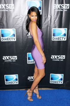 Chanel Iman in a body-con lilac purple dress + strappy heels