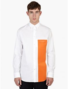 CMMN SWDN White Cotton 'Felix' Shirt with Applique Panel   oki-ni