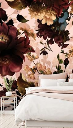 Wallpaper Murals by Uta Naumann Maroon Bedroom, Burgundy Bedroom, Burgundy Decor, Dusty Pink Bedroom, Bedroom Colors, Bedroom Decor, Master Bedroom, Bedroom Ideas, Bedroom Signs