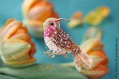миниатюрная брошь - птица колибри. Золотистая. - оранжевый,колибри,птица