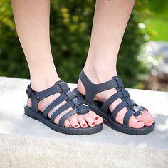 Flox Gladiator Sandal in Black - Lookie Lou. From Melissa, all vegan.