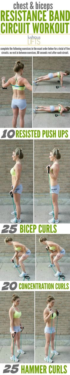 Chest and Biceps Resistance Band Circuit Workout