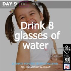 UltimateYou challenge Drink 8 Glasses of Water Diet And Nutrition, Healthy Habits, Challenges, Weight Loss, Glasses, Drinks, Reading, Day, Water