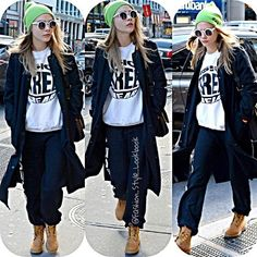 #caradelevingne #poppydelevingne  #beanie #hat #sweater #plaid #cool #fashion #style #blonde #eyebrows #accessories #love #beautiful #makeup #royals #highheels #heels #jeans #forever21 #vogue #chanel #fashion #style #disney #selfie #nomakeup #croptop... - Celebrity Fashion