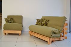Traditional Futon - Futon which raises up on conversion to bed to a normal bed height.
