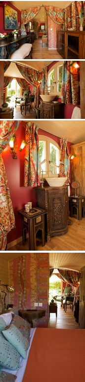 Interior of beautiful small space, draped in bright turquoise, orange, and red colors.   A Gypsy Wagon Fit For The Queen Herself   Tiny Homes