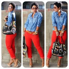 Red Jeans For Women Rote Jeans für Frauen Mode Outfits, Chic Outfits, Spring Outfits, Classy Outfits, Pantalon Orange, Looks Camisa Jeans, Red Pants Outfit, Jean Shirt Outfits, Dress Pants