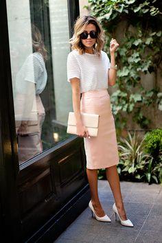 bbc4ddaaf33 Hello Fashion  Neutral Work Wardrobe I love this - sheer white striped  blouse tucked into