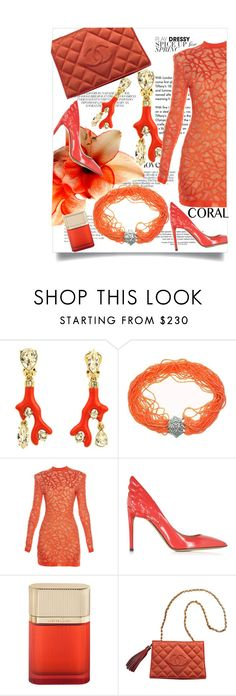 """""""Coral"""" by theitalianglam ❤ liked on Polyvore featuring Tiffany & Co., Oscar de la Renta, Balmain, Valentino, Cartier, Chanel, women's clothing, women, female and woman"""