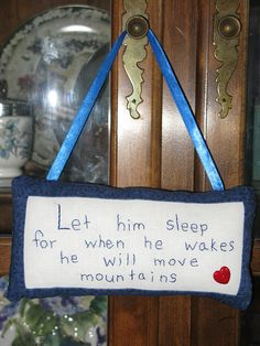 Let HimSleep  Nursery Door Hanger by LaughRabbitJr on Etsy, $14.00