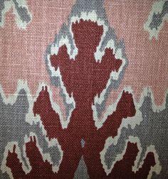 Bengal Bazaar fabric in Graphite/Rose by Kelly Wearstler by Lee Joffa. Linen. Spring 2012.