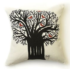 All a Twitter Cushion  Cream linen hand embroidered cushion with red brids sitting in a black tree, with a pussy cat waiting at the bottom!