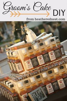 A Groom's Cake is a great wedding detail. Why not make it a truly DIY original with airplane bottles and cigars? Now you can have your cake and DRINK it too!! http://www.heatherednest.com/2014/08/let-them-drink-cake.html