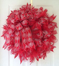 Whimsical Red & White Holiday Deco Mesh Wreath by TheRedHenHouse