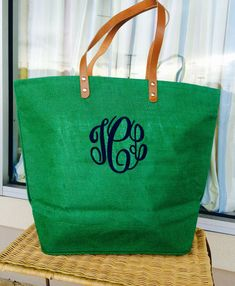 Hey, I found this really awesome Etsy listing at https://www.etsy.com/listing/124816538/monogrammed-irish-green-colored-jute-bag