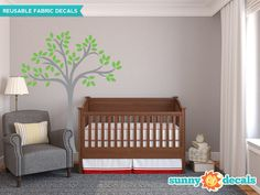 Beautiful Tree Fabric Wall Decal Tree Wall Décor by SunnyDecals