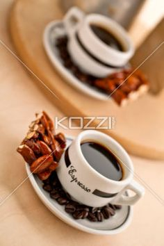 almond bar and black coffee - Almond bar and black coffee with coffee beans