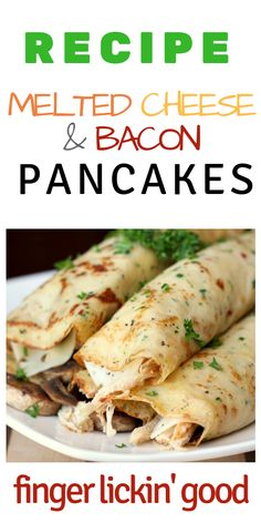 Melted Cheese and Bacon Pancakes Breakfast Desayunos, Breakfast Dishes, Breakfast Recipes, Pancake Recipes, Brunch Recipes, Keto Recipes, Cooking Recipes, Crepe Recipes, Pancakes And Bacon