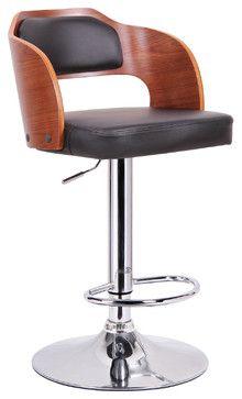 Baxton Studio Sitka Walnut and Black Modern Bar Stool contemporary-bar-stools-and-counter-stools