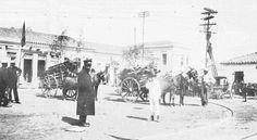 Largo de Pinheiros, com os trilhos dos bondes, anos 1900 - Raul Goldschmidt