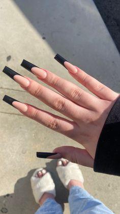 Classy Acrylic Nails, French Tip Acrylic Nails, Long Square Acrylic Nails, French Acrylic Nails, Edgy Nails, Acrylic Nails Coffin Short, Best Acrylic Nails, Long French Tip Nails, Long Black Nails