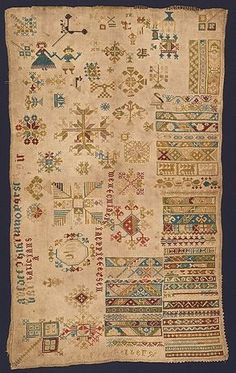 This Dutch sampler is an of example a practical working document, with various small patterns and motifs scattered across the surface of the cloth in different orientations making the best use of the available space on the foundation fabric