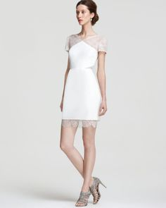 BCBGMAXAZRIA Lace Dress - V Neck | Bloomingdale's#rehearsal dinner#bridal shower#departing wedding dress