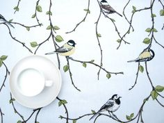 Tablecloth white ivory green tree yellow Birds Modern Scandinavian Design MOISTURE RESISTANT , napkins , runners , available, great GIFT Buckwheat Hull Pillow, Yellow Birds, Green Trees, Burning Candle, Scandinavian Design, Linen Fabric, Great Gifts, Ivory, Bathroom Curtains