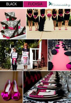 black and fuchsia wedding ideas