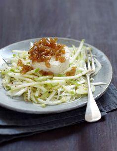Salade croquante de fenouil, céleri-rave, pomme Granny Smith et Pélardon