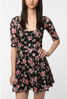 UrbanOutfitters.com > Betsey Johnson Pink Label Floral Lace Skater Dress.  I need pink wedges to wear with this omg