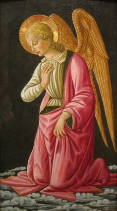 File:Kneeling Angel by Bernardo di Stefano Rosselli, Florence, c. tempera and oil on panel - San Diego Museum of Art - Fra Angelico, Catholic Art, Religious Art, Angel Guide, Angel Drawing, Angels Among Us, Sea Art, Guardian Angels, Traditional Paintings