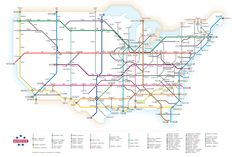 Interstates as a Subway Map infographic is a subway-style map of America's interstate highways, and it's pretty handy for quickly planning a cross-country trip. You can see at a glance how the highways connect and the major cities along the way. Auras, Highway Map, Underground Map, System Map, Subway Map, Nyc Subway, 1 Gif, Tips & Tricks, Branding