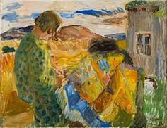 Hanna med teppe by Hans Ryggen