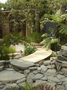 'Equilibrium' was classic Phillip Johnson, sustainable materials, lots of contrasting natural textures, and a palette of lush native foliage...