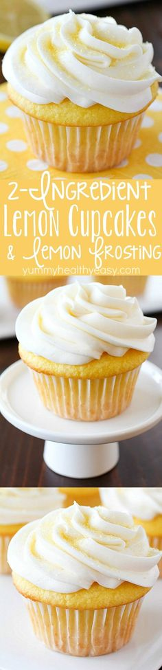 Cupcakes made with only 2 Ingredients and then frosted with a quick and easy lemon frosting! You won't believe how soft and delicious these cupcakes are! Plus a round-up of more delicious cupcake recipes you won't want to miss! Lemon Desserts, Lemon Recipes, Easy Desserts, Baking Recipes, Delicious Desserts, Yummy Food, Apple Recipes, Food Cakes, Cupcake Cakes