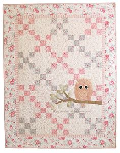 Remember 'Whooo' Loves You Quilt - pink, blue, cream