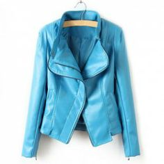$20.01 Popular Solid Color Motorcycle PU Leather Jackets For Women