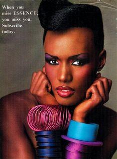 JANELLE MONET LOOKS LIKE THIS NOW !80s-90s-supermodels: Essence, June 1985 Model : Grace Jones Grace Jones, 80s Fashion, Look Fashion, Disco Fashion, Fashion History, Womens Fashion, Fashion Trends, Beautiful Black Women, Beautiful People