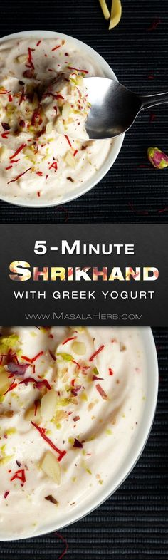 A quick shrikhand recipe with fresh Greek yogurt & nuts. You can adjust this recipe to flavor the shrikhand with mango pulp or with rose water. Indian Dessert Recipes, Greek Recipes, My Recipes, Snack Recipes, Favorite Recipes, Indian Sweets, Snacks, Indian Recipes, Summer Recipes